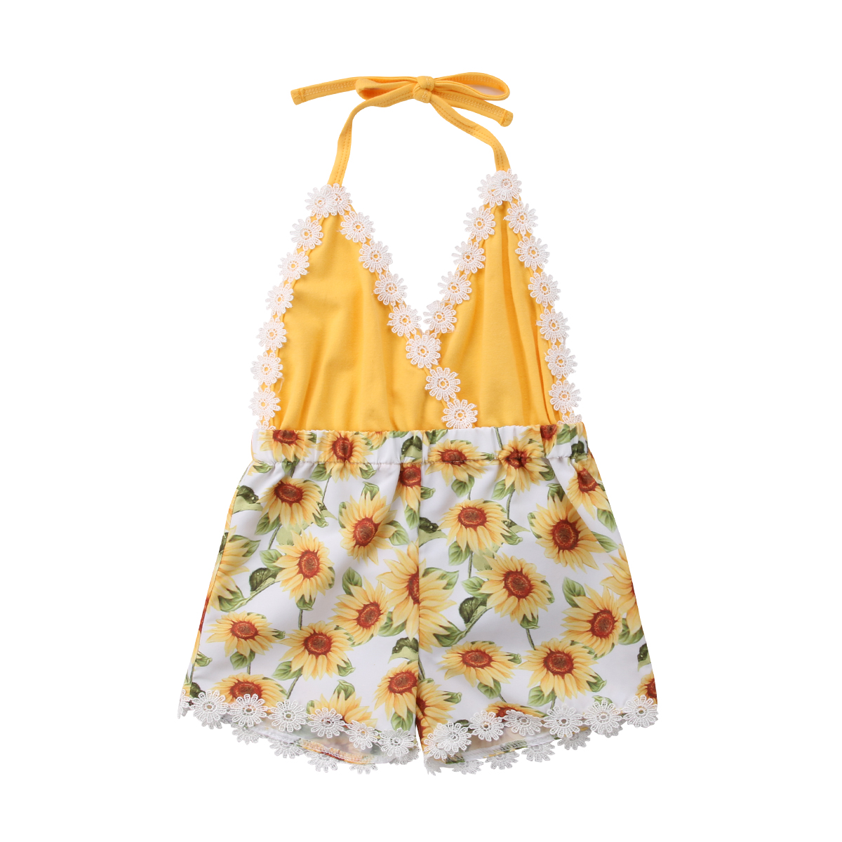 0-5Y Summer Sweet Pretty Newly Toddler Baby Girls   Romper   Jumpsuits Sleeveless Belt V-Neck Floral Print Yellow   Romper