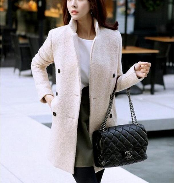 a51dfde112bba Winter Wool Coat Women 2018 New Fashion Korean Beige Double-Breasted Coat  Slim Thick Long-Sleeved Jacket big size XXL