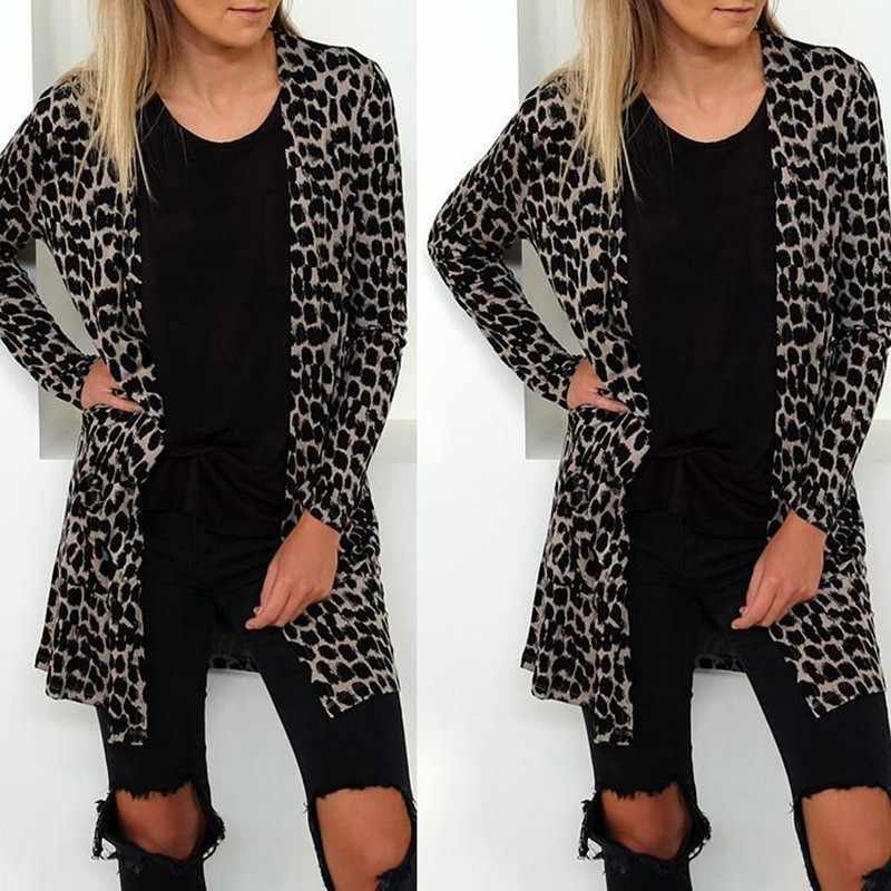 2018 herbst Mode Sexy Frauen Gestrickte Langarm Leopard Strickjacke Casual Harajuku Pullover Mantel Oberbekleidung Colete Mujer Gilet