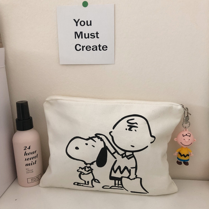 Snoopy Pen Bag Cosmetic Bag Cartoon Printed Canvas Handbag Cute Pig Student Pen Bag Personality Storage Bag School Supplies