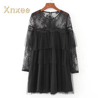 Vintage Women Ruffle Trims Voile Dress Lace Shoulder Long Sleeve Black Mini Sexy Mesh Dresses