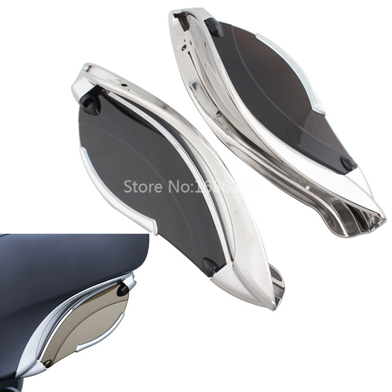Chrome Smoke ABS Adjustable Batwing Fairing Side Wing Air Deflector Fits For Harley Touring 2014 2019