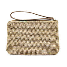 ABDB-Women'S Hand Wrist Type Straw Clutch Summer Beach Sea Handbag, Brown Large