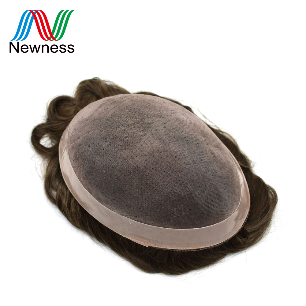 NEWNESS Men Toupee Durable Hairpieces MONO NPU Indian Remy Human Hair System For Males Natural Straight
