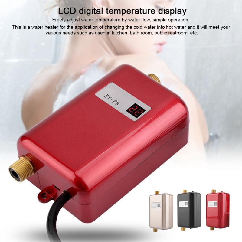 220V 3400W Electric Tankless Instant Hot Water Heater Bathroom Kitchen Washing Heater US EU Plug
