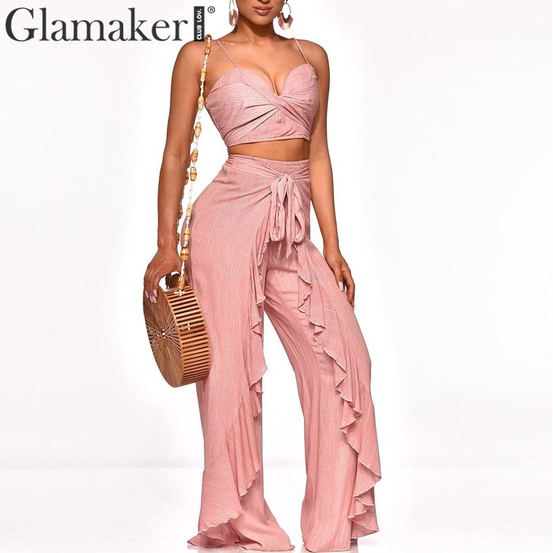 Glamaker Two-piece bandage women   jumpsuit   Pink cropped top boho ruffles playsuit Summer sexy holiday benach sash wide   jumpsuit