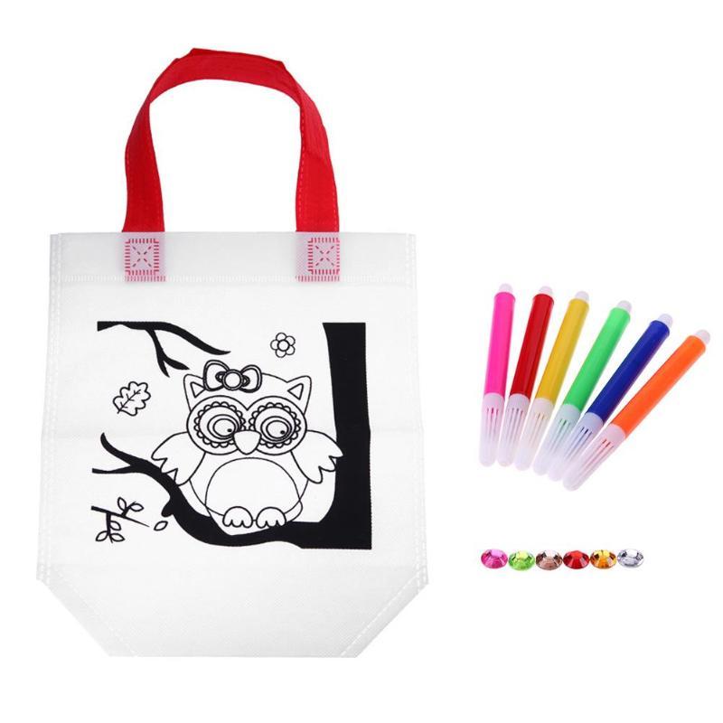 Graffiti Handbag Kids Bag Children DIY Environmental Cloth Painted Bags Kindergarten Painting Fill-color Drawing Toys