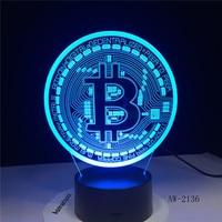 Nueva lámpara 3d de Bitcoin, Led VISUAL táctil de siete colores, decoración de regalo, escritorio, luz Led de noche, AW-1721 de luz 3d con cambio de 7 colores