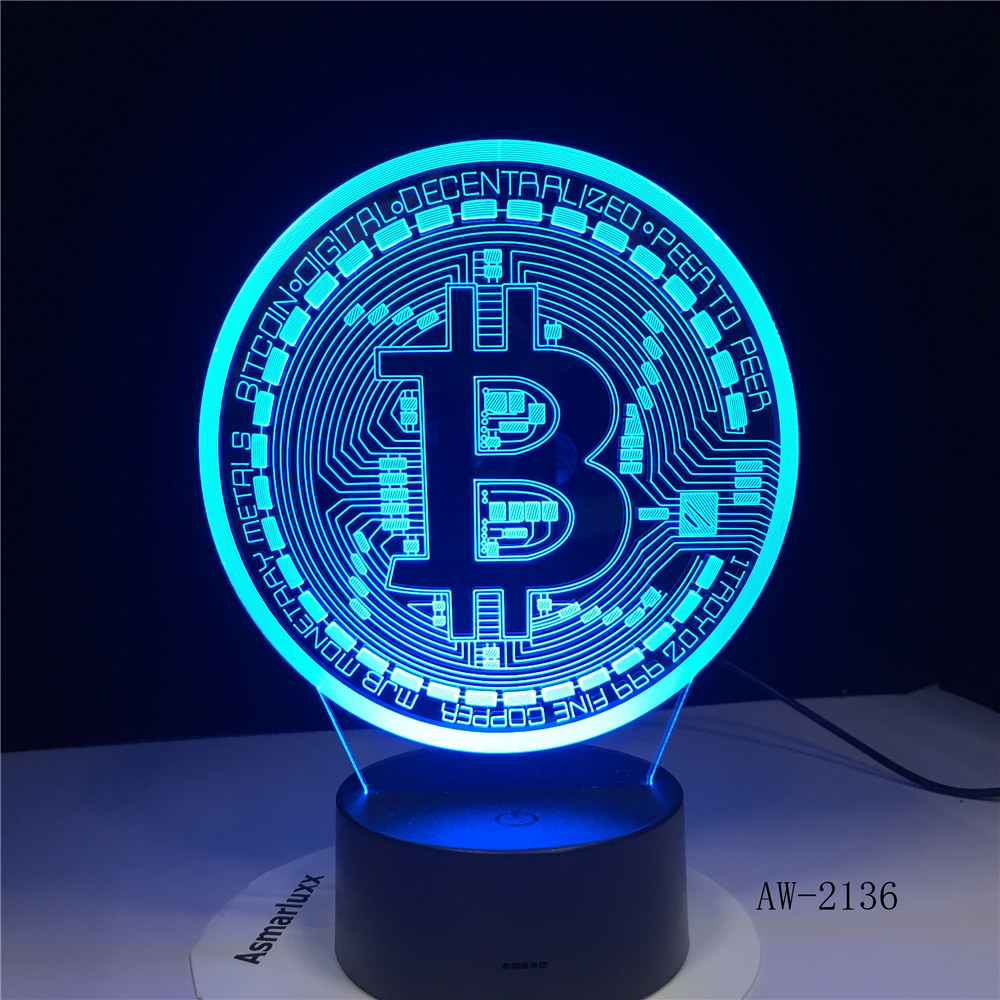 New Bitcoin 3d Lamp Seven Color Touch Led Visual Gift Decoration Desk Led Night Light Lovely