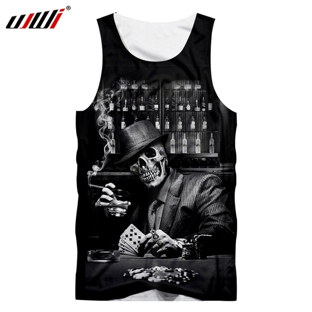 UJWI Tank Top 2018 New Men's Smoking poker skull 3D Printed  Handsome Personality Tank Top