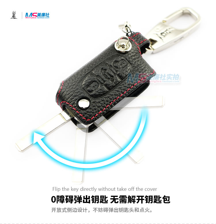 Genuine Leather Car Key case for Citroen 3 buttons C4 Picasso C5 - Car Interior Accessories - Photo 5