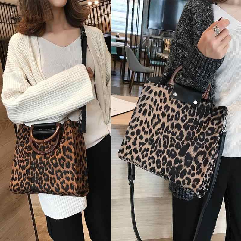 2019 Women's handbags Leopard Tote Bags For Women High Capacity Plush Hand bags With Handle Shoulder Bag Female Crossbody Bags