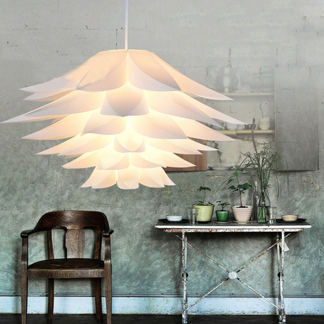 New 2019 Room decoration Romantic LED Stitching chandelier PP Flower Cover Lamp Light DIY Lotus Shape Fixture Pendent Lampshade