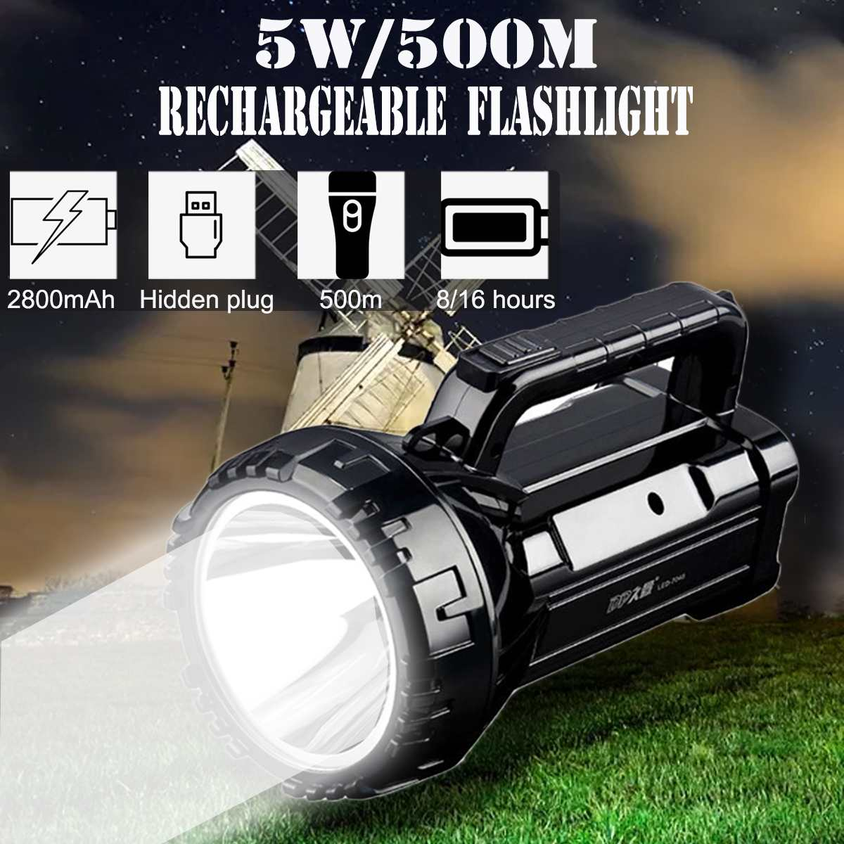 Flashlight Torch COB LED Work Light Rechargeable Inspection Camp Portable Lamp