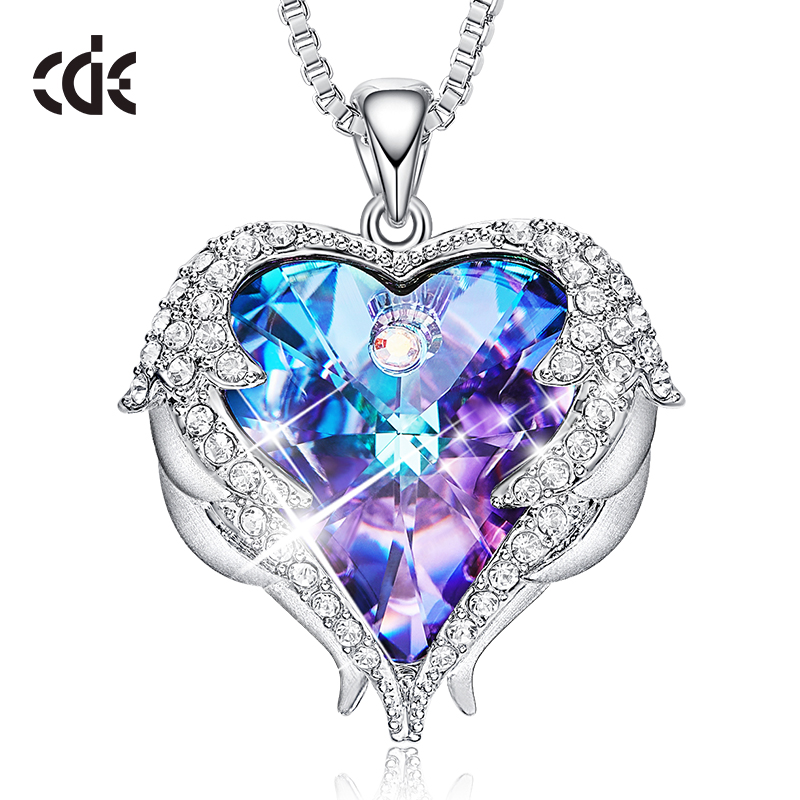 CDE Women Necklace Pendant Embellished with crystals from Swarovski Heart Necklace Valentines Gift Angel Wings Female Jewelry(China)
