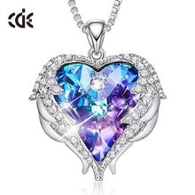 CDE женское серебряное ожерелье украшено кристаллами от Swarovski ожерелье крылья Ангела сердце кулон подарок на день Святого Валентина