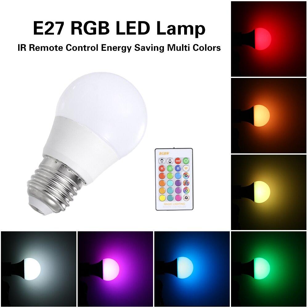 3W5W10W15W RGB LED Lamp E27 Dimmable Bulb Energy Saving Light Multi Colors Spotlight IR Remote Control Holiday Lighting