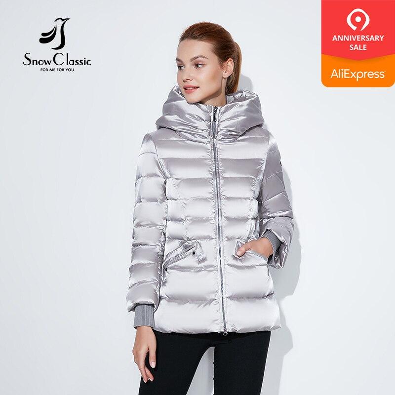 SnowClassic 2018 hiver veste courte à la mode femmes épais manteau chaud vestes capuche taille réglable solide mince coton rembourré-in Parkas from Mode Femme et Accessoires    1