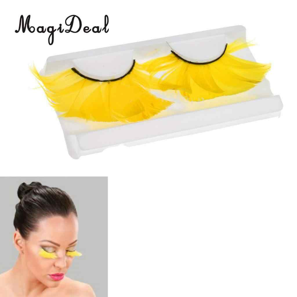 77c265d238d Feather Eyelashes Eye Lashes for Party Dance Halloween Costume Makeup  Yellow Fashion Color High quanlity