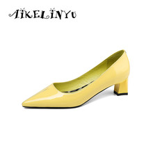 AIKELINYU Fashion Shallow Concise Womens Pumps Yellow purple High Heels Genuine Leather Elegant Office Lady Shoes