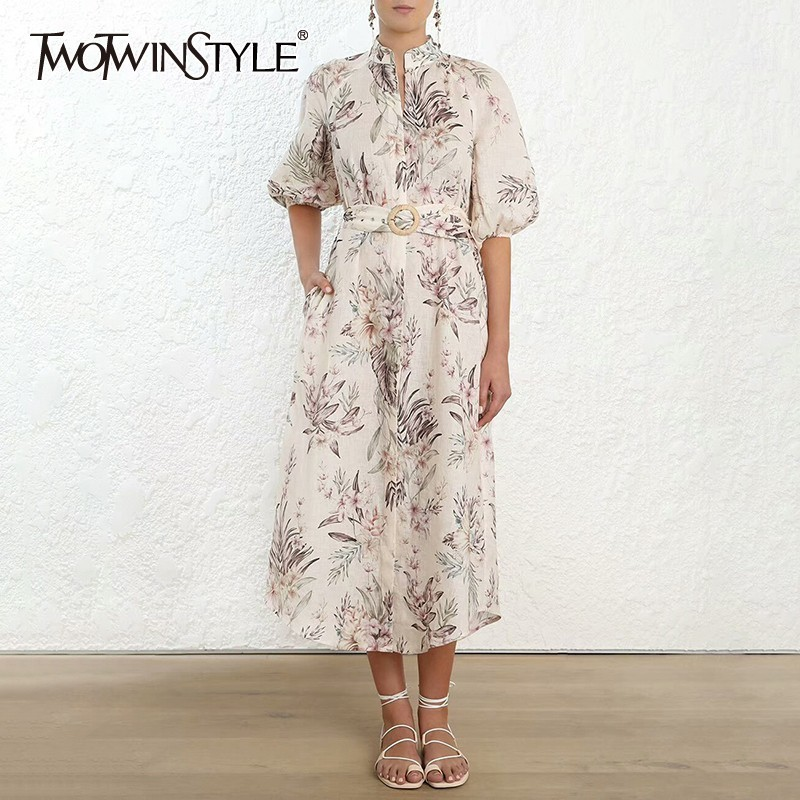 TWOTWINSTYLE Print Long Dress Women Stand High Waist Lantern Sleeve Sashes Slim Midi Dresses Female Spring