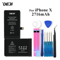 Deji Battery For iPhone X Apple iPhoneX 2716mAh High Real Capacity Li polymer Batteries +Tools For Apple iPhone x Batteries 2019