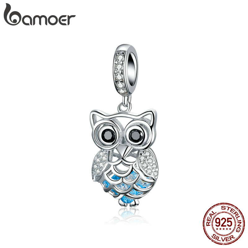 BAMOER New Arrival 925 Sterling Silver Crystal Owl Cubic Zircon Animal Charms fit Beads Bracelets & Bangles DIY Jewelry SCC1124BAMOER New Arrival 925 Sterling Silver Crystal Owl Cubic Zircon Animal Charms fit Beads Bracelets & Bangles DIY Jewelry SCC1124