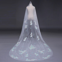 Embroidery Lace Applique Veil One Layer Cathedral Bridal Veils Wedding Accessories Cut Edge Sequined Yarn Petal Veil