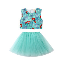 Kids Baby Girl Mermaid Vest Tops Mesh Ball Dress