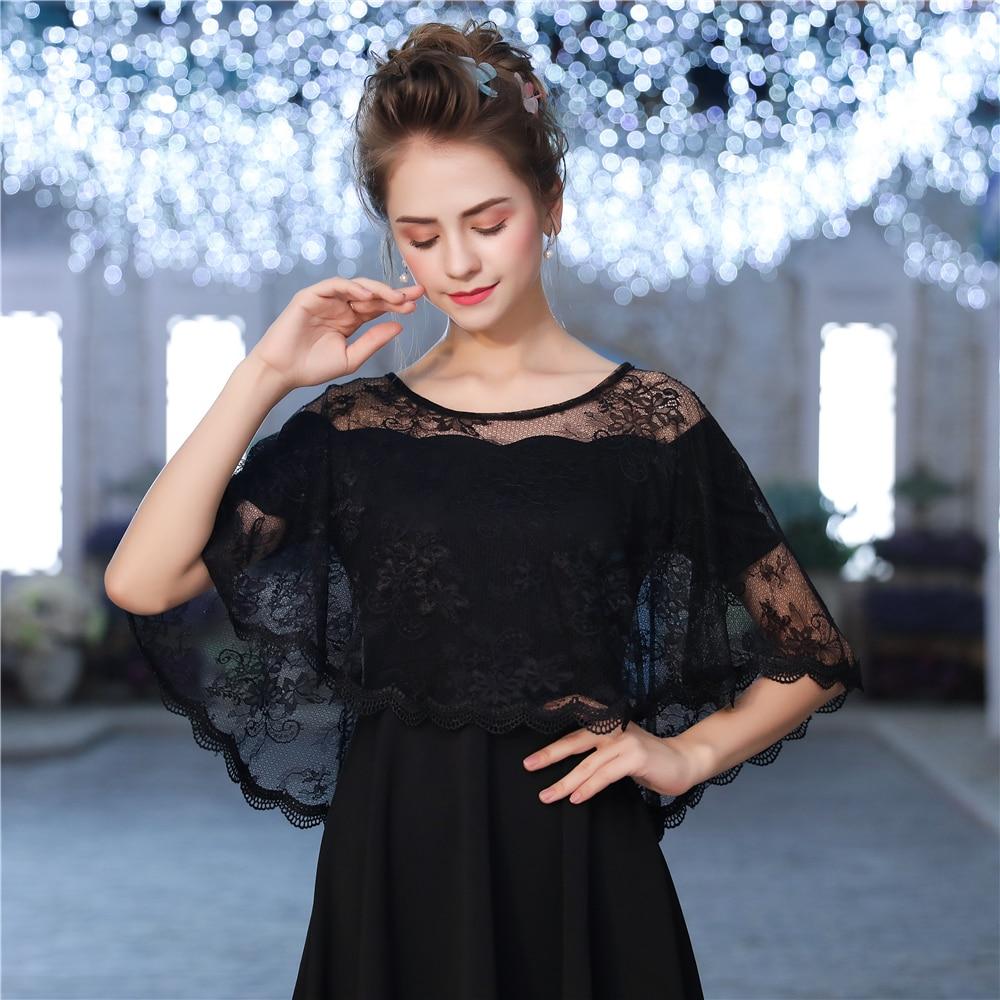 Elegant Lace Sheer Summer Wrap Women Black High Low Short Cape Sleeveless Jacket Wedding Accessories Fashion Shawl Gift Handmade