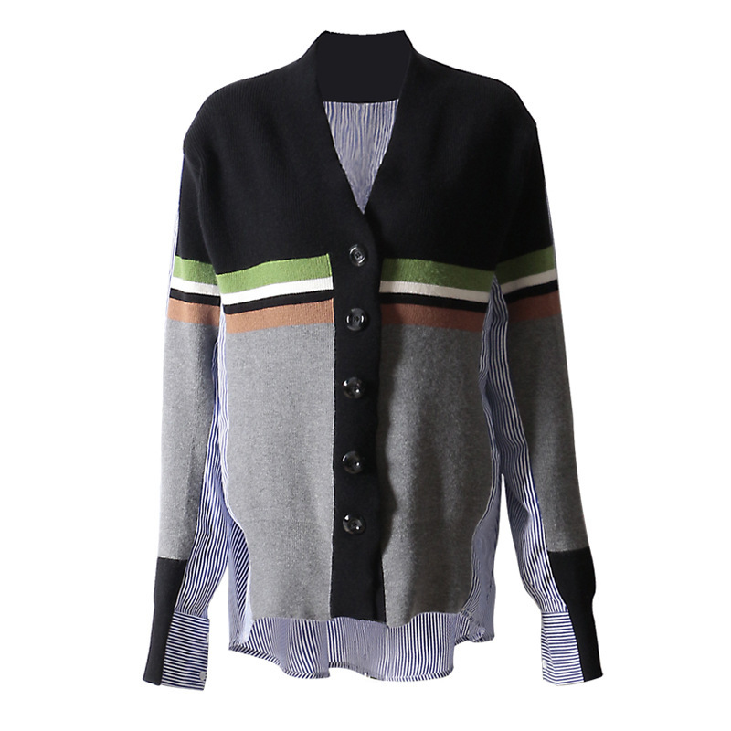 DEAT 2019 New Spring Fashion Women Clothing Round Collar Batwing Sleeves Striped Patchwork Knits Single Breasted