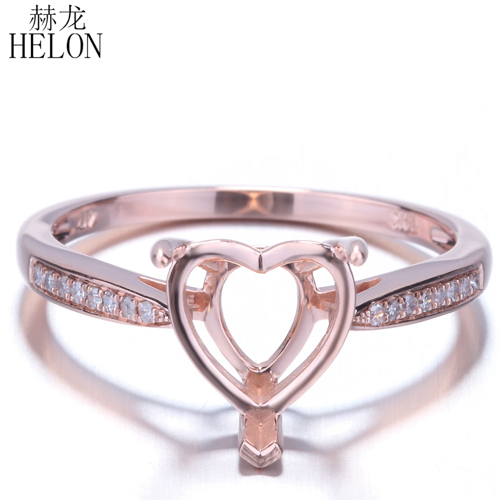 HELON Solid 14k Rose Gold 6 75x6 75mm 8 5x8 5mm Heart Shape Semi Mount Pave
