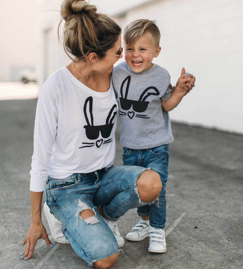 Mother Son T Shirt Children's Round Neck Top Family Matching Clothes Cute Bunny Mom Long Sleeve Tee Kids Short Sleeve Tee Girls