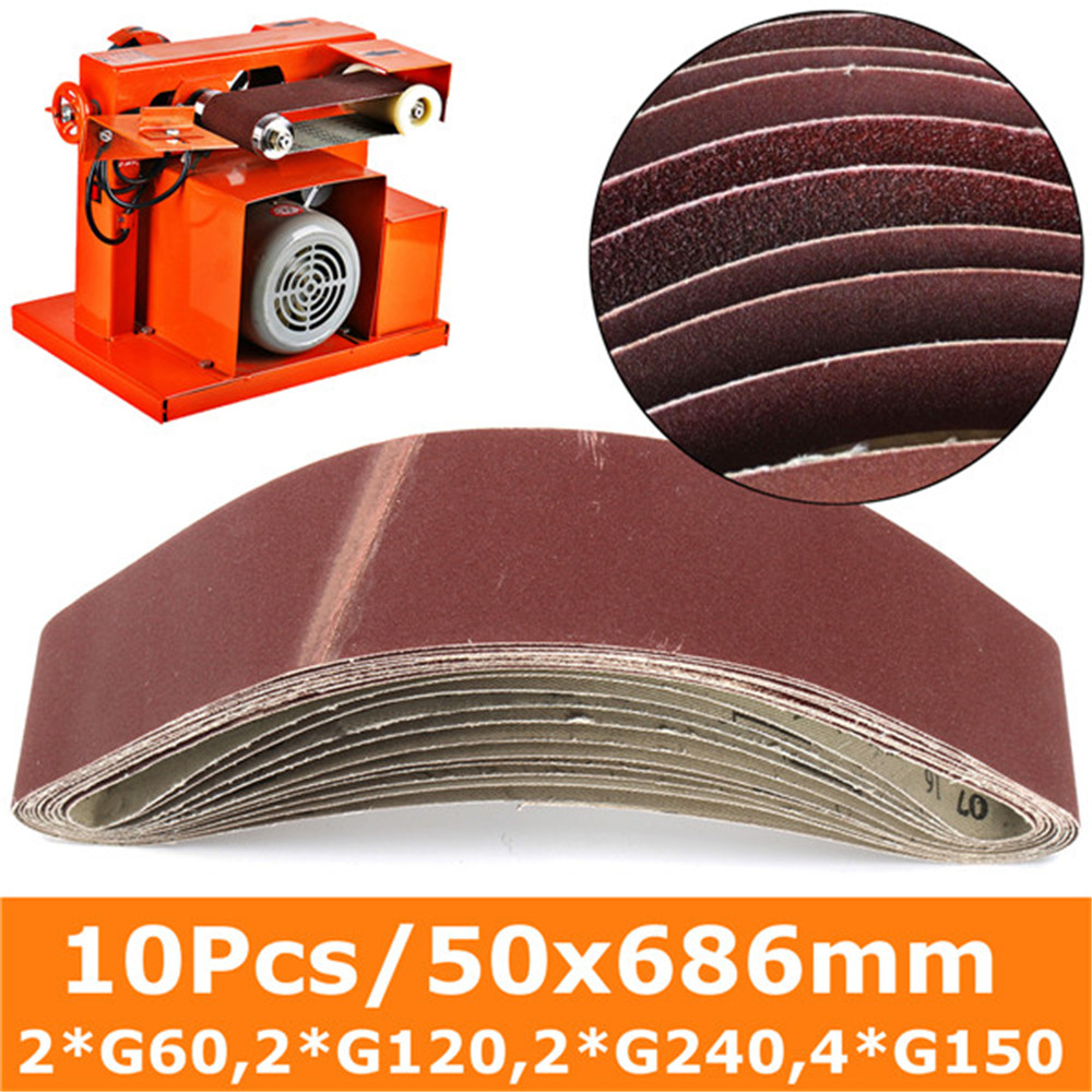 10Pcs 50x686mm Abrasive Sanding Belt Sanding Paper For Belt Sanders Bench Grinder Grinding Polishing Tool 60-150 Grit New