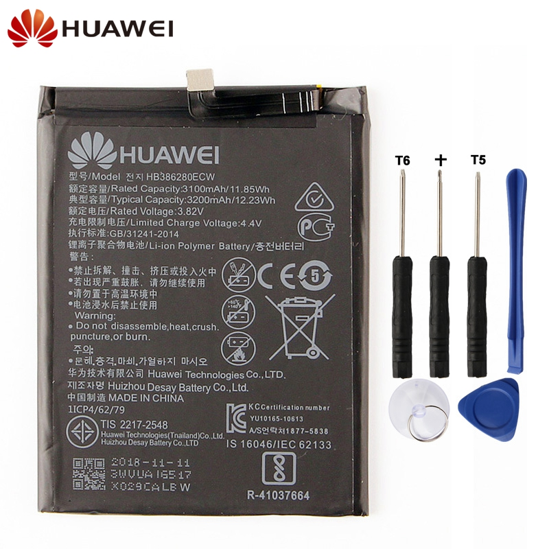 Original Replacement Phone <font><b>Battery</b></font> For <font><b>Huawei</b></font> Honor 9 <font><b>P10</b></font> Ascend <font><b>P10</b></font> HB386280ECW Authenic Rechargeable <font><b>Battery</b></font> 3200mAh image