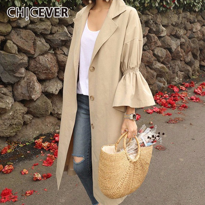 CHICEVER Autumn Trench Coat For Women's Windbreaker Flare Sleeve Loose Plus Size Long Woman Coat Female Clothes Fashion Casual