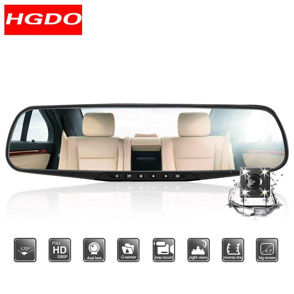 HGDO 4.3inch Mirror DVR car Dual lens Car camera Rearview Mirror Dash cam Full HD 1080P video surveillance Night vision Recorder