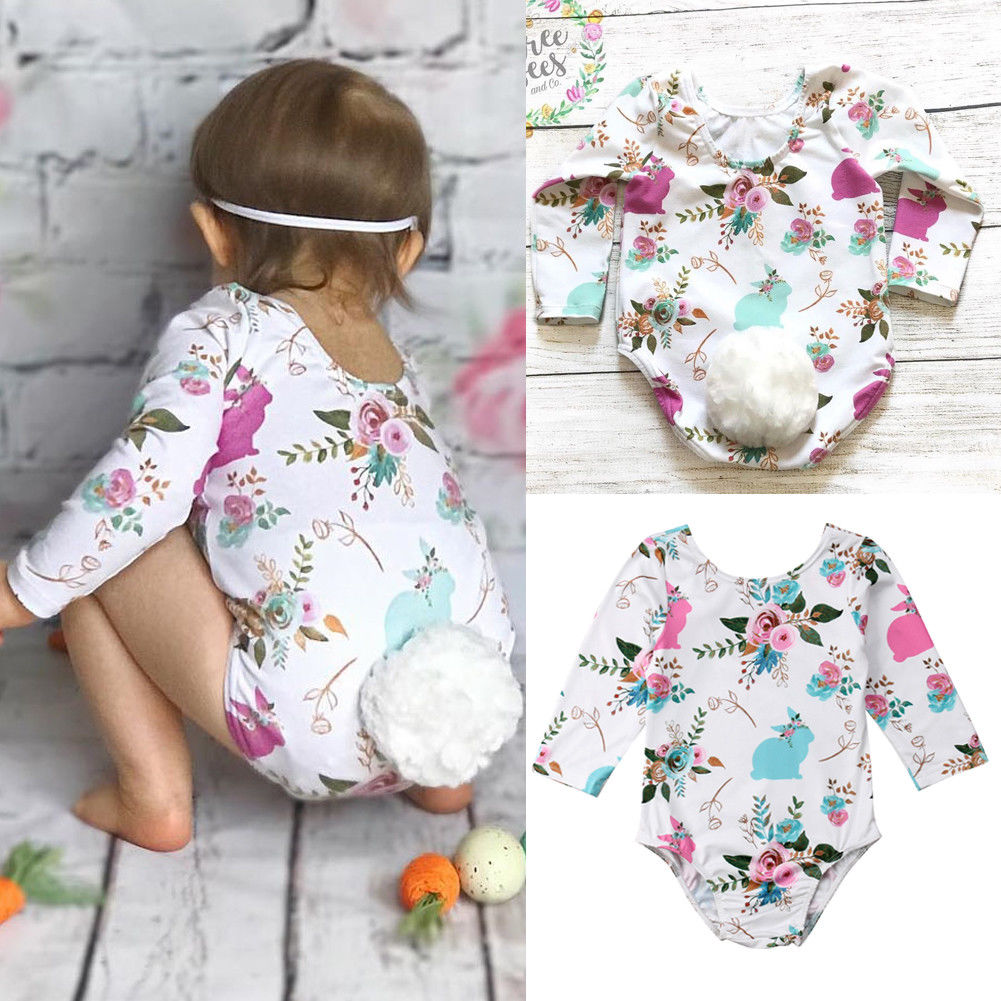 Pudcoco Girl Jumpsuits 3M-18M Baby Girl White Tail Long Sleeve   Romper   Jumpsuit Outfit Costume Clothes