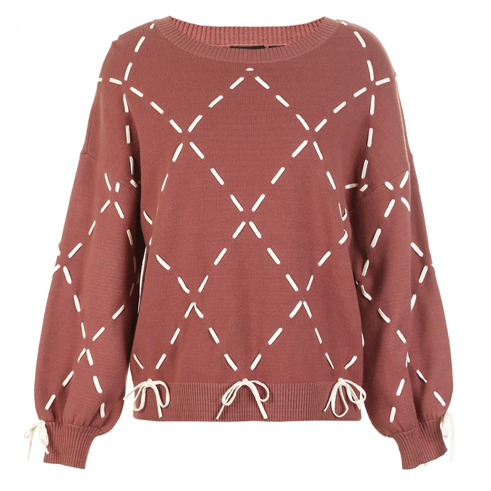 Sexy And Refined Womens Winter Youth New Elegant Loose Rope Lace Knit Sweater Trendy Diamond Lattice Tie-up Classic Design Show 19
