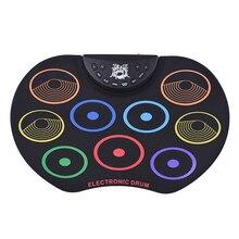 Компактный размер рулонный барабанный набор электронных ударных 9 силиконовых барабанных подушечек USB/на батарейках барабанные палочки, ножные педали