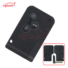 Kigoauto 3 Button Smart Card For Renault Clio Logan Megane 2 3 Koleos Scenic Card Case Black Car Key Fob Shell With Key blade new 3 button card key case with printed button for renault megane full set