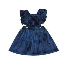 Princess Kids Baby Girls Dresses Velvet Party Pageant Short Sleeve Gown Formal Dress(China)