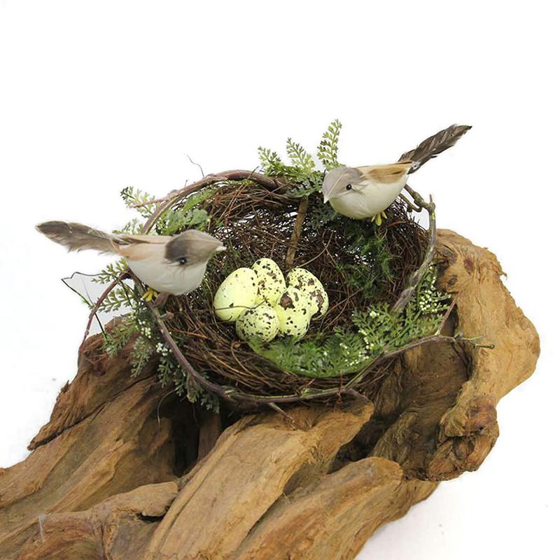 Simulation Bird Nest False Bird Nest Decoration Props Big Round Bird Nest Set Garden Decoration 13cm (Yellow Egg) #YW
