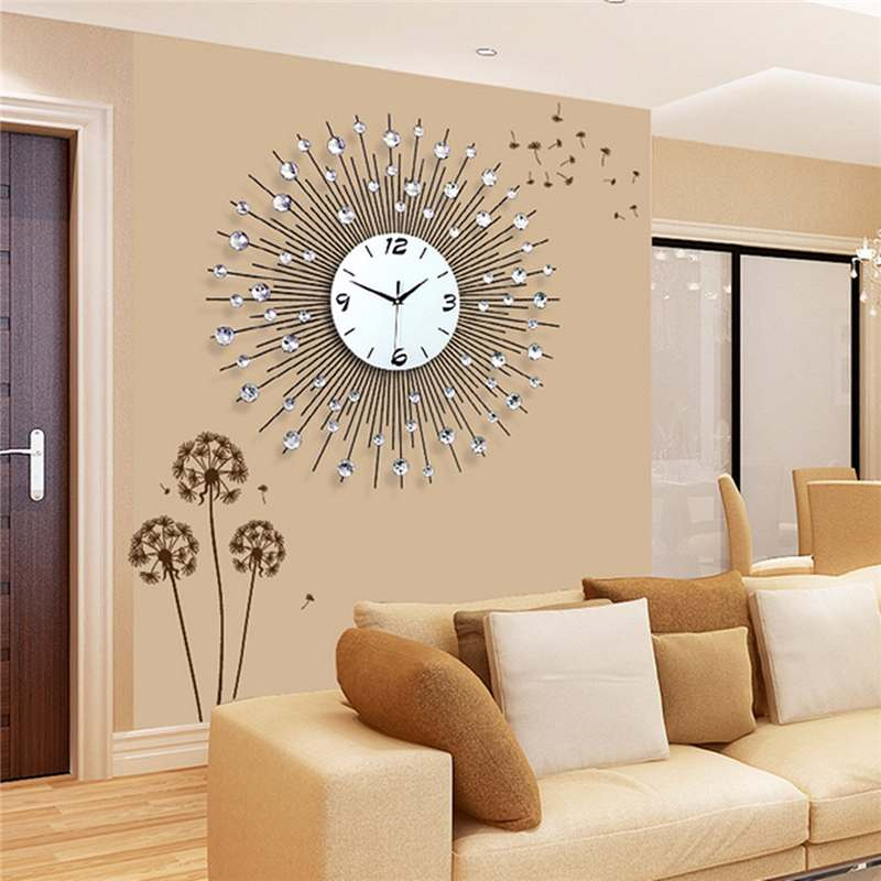 Wall-Clock Watch Mirror Home-Decor Luxury Metal Large Crystal Round Diamond 3D Iron-Art