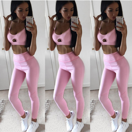 Hirigin Pure Pink Women Two Piece Set 2017 Fashion Tracksuit For Women Set Padded Bra Crop Tops+Long Legging Women's Tracksuits