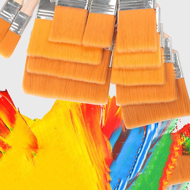 ไนลอนคุณภาพสูงแปรงที่แตกต่างกันขนาดไม้Handleสีน้ำแปรงสำหรับอะคริลิคภาพวาดโรงเรียนArt Supplies