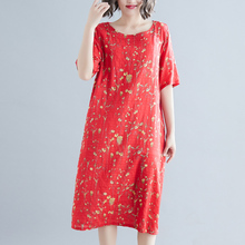 2019 Summer Dress For Women Cotton Linen Ladies O-neck Short Sleeve Knee Casual Loose Floral Print Dresses Vestidos short sleeve white lotus printing o neck women dresses casual cotton linen knee length dress vestidos summer plus size
