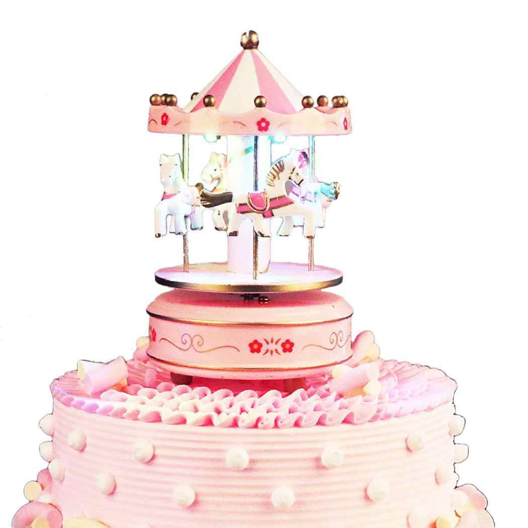 Children Toys Years Kids Carousel 3 with Old Decoration New Blue Over Light Desktop Gift Pink Music Box