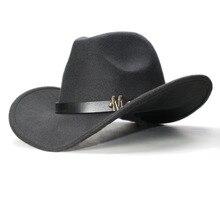 LUCKYLIANJI Vintage de los hombres de las mujeres de ala ancha vaquero  occidental vaquera sombrero Fedora de la letra M banda de. 25a8c7a93f0