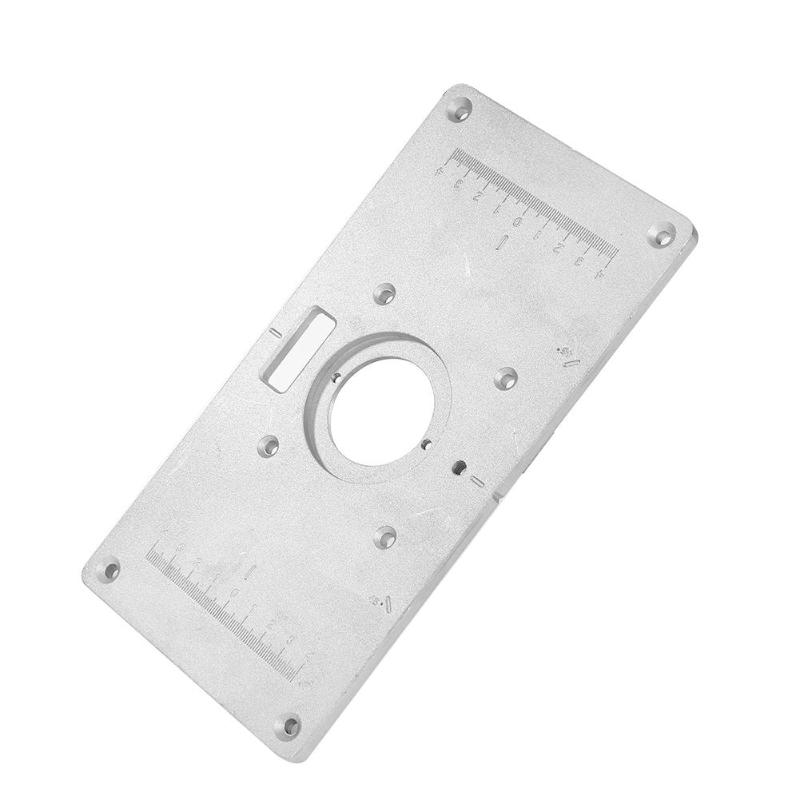 Woodworking Benches Aluminum Router Table Insert Plate with 4 Rings Screws Chamfer Trimming Machine for Woodworking Benches